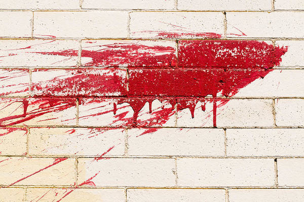 Red Splash On Brick Wall Poster