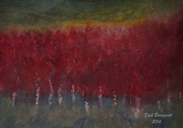 Red Trees Watercolor Poster