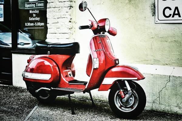 Red Vespa Poster