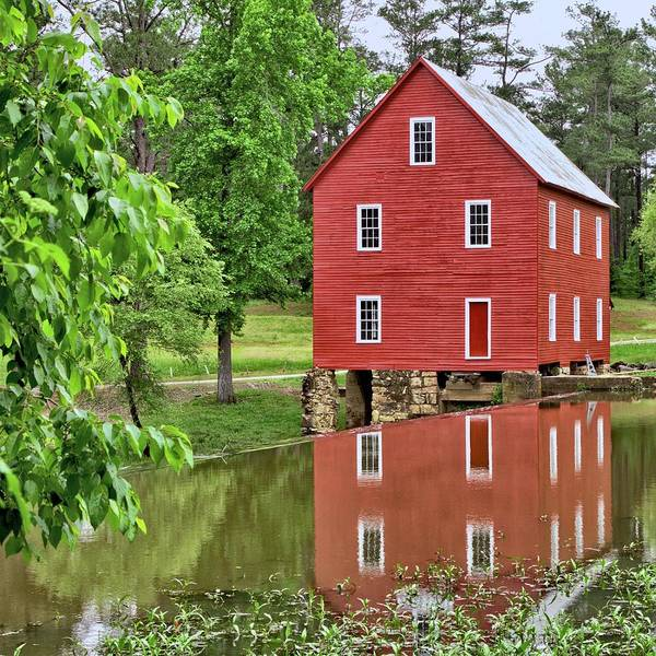 Reflections Of A Retired Grist Mill - Square Poster