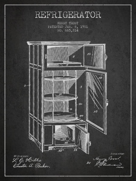 Refrigerator Patent From 1901 - Dark Poster