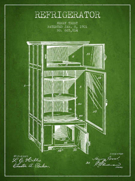 Refrigerator Patent From 1901 - Green Poster