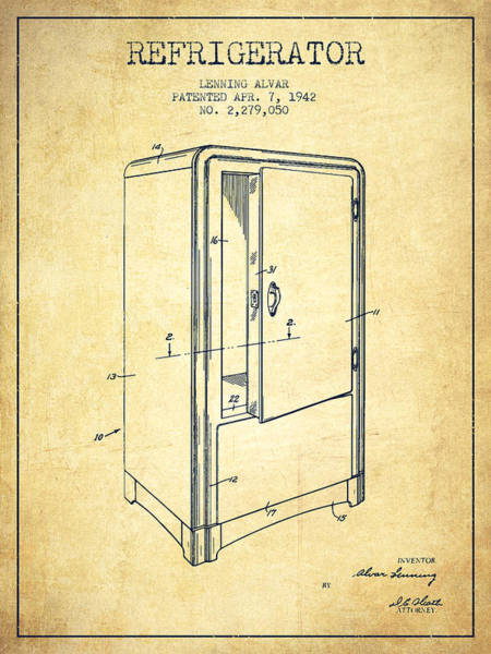Refrigerator Patent From 1942 - Vintage Poster