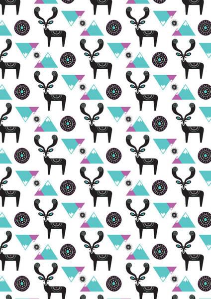 Repeat Print - Folk Deer Poster