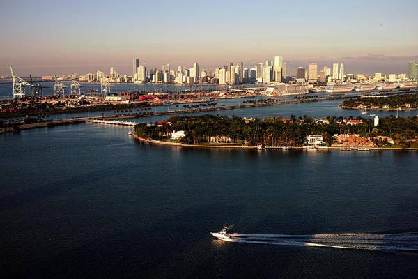 Retro Style Miami Skyline Sunrise And Biscayne Bay Poster