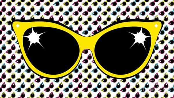 Retro Yellow Cat Sunglasses Poster