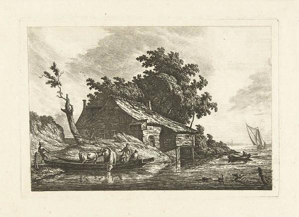 River Landscape With A Ferry, Johannes Van Cuylenburgh Poster
