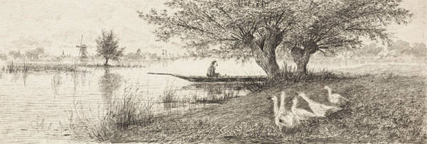 River Landscape With A Man In A Boat And Geese On The Bank Poster