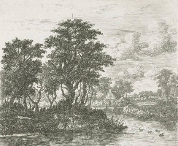 River Landscape With An Angler, Hermanus Jan Hendrik Van Poster