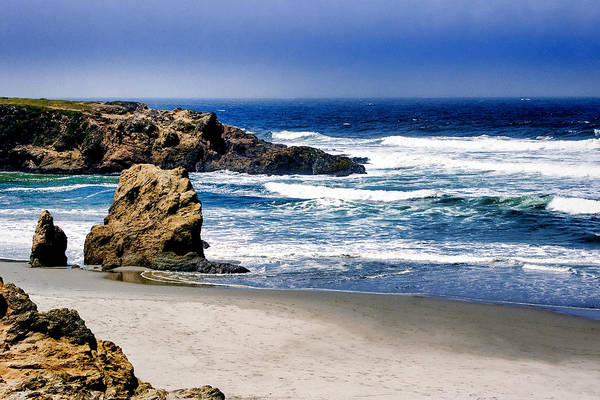 Poster featuring the photograph Rocky Beach Blue Mendocino by William Havle