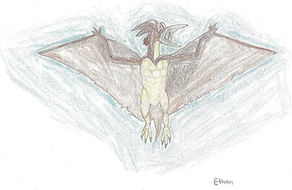 Poster featuring the drawing Rodan by Fred Hanna