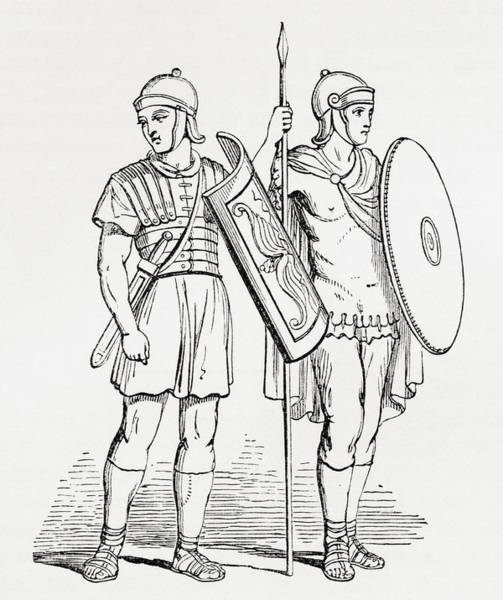 Roman Infantry Soldiers, After Figures On Trajans Column.  From The Imperial Bible Dictionary Poster