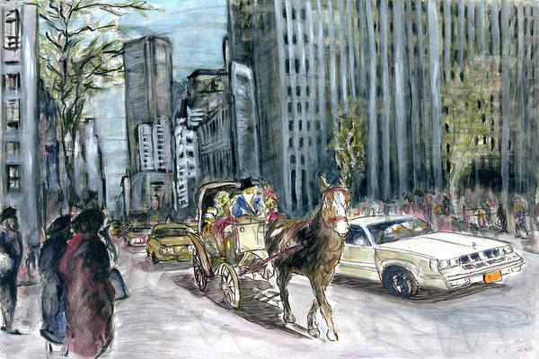 New York 5th Avenue Ride - Fine Art Painting Poster