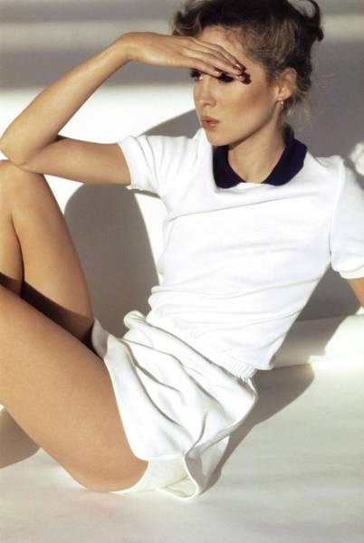 Rosie Vela Wearing A White Dress Poster
