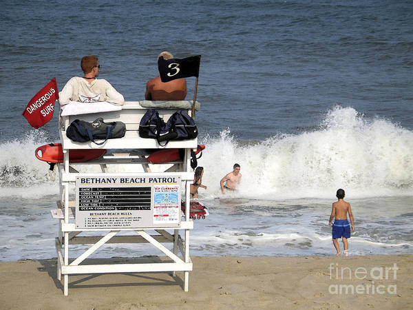 Rough Water At Bethany Beach In Delaware  Poster