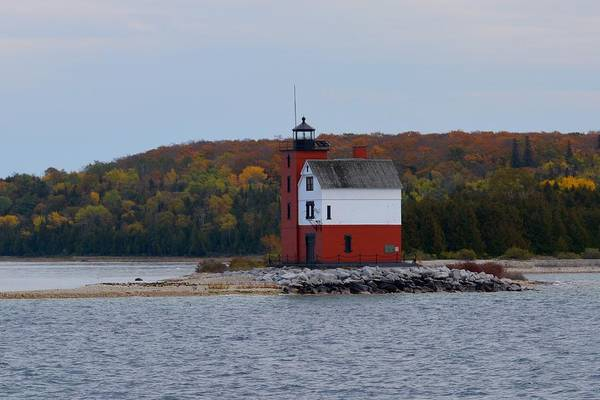 Round Island Lighthouse In Autumn Poster