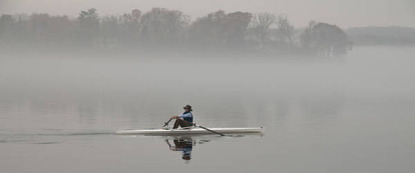 Rowing Into Morning Fog Poster