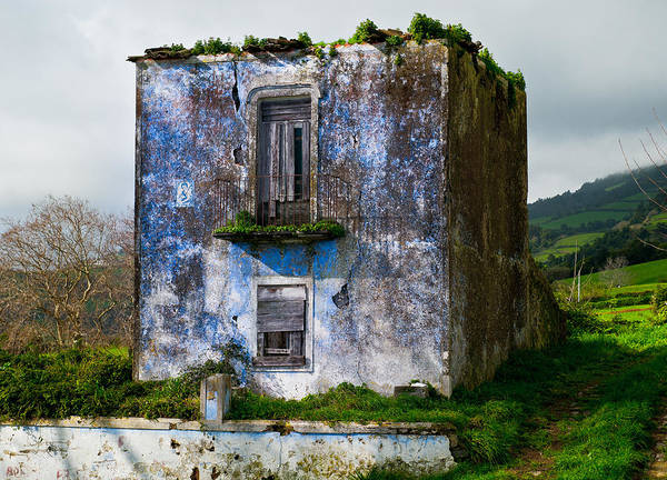 Ruins Of House Painted Blue Poster