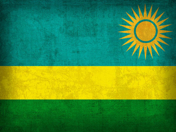 Rwanda Flag Vintage Distressed Finish Poster