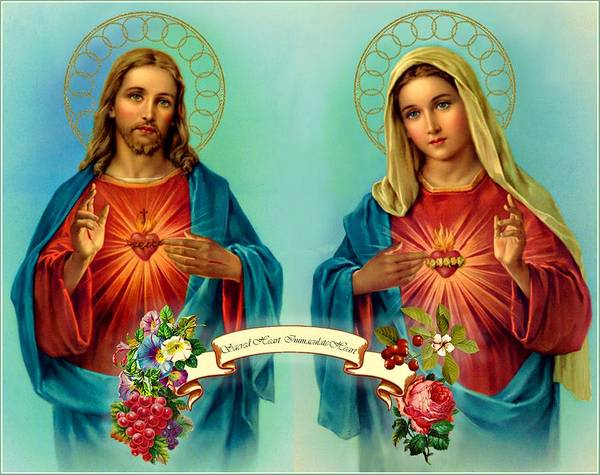 Sacred Heart Immaculate Heart  Poster