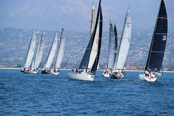 Sailboat Race In The Pacific Ocean Poster