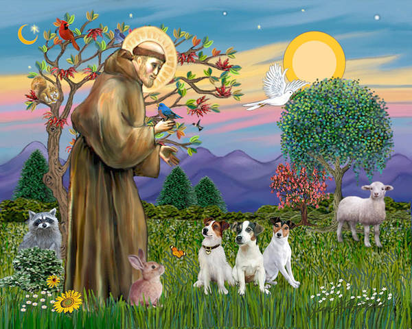Saint Francis Blesses Three Jack Russell Terriers Poster