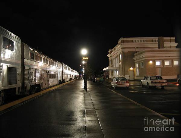 Salem Amtrak Depot At Night Poster