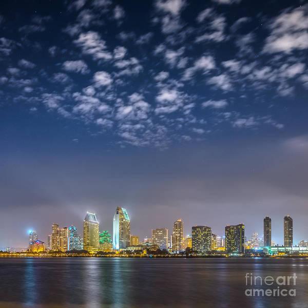 San Diego Night Skyline With Stars Poster