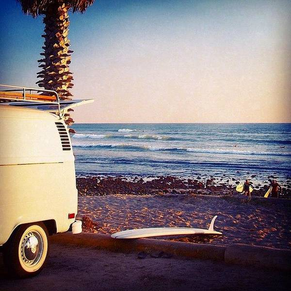 Vw Bus And Surfers At San Onofre Poster