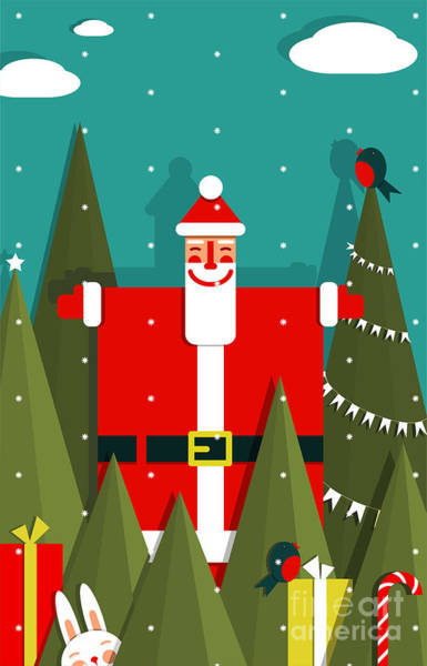 Santa With Gifts And Presents In Woods Poster