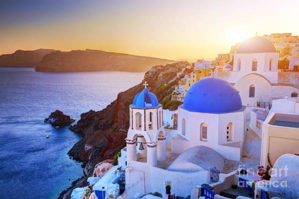 Santorini Greece At Sunset Poster