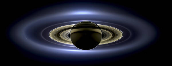 Saturn Mosaic With Earth Poster