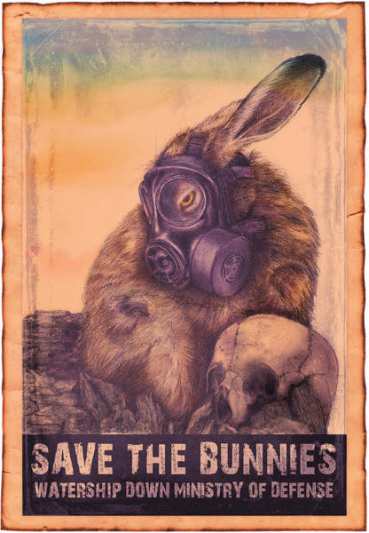 Poster featuring the digital art Save The Bunnies by Penny Collins