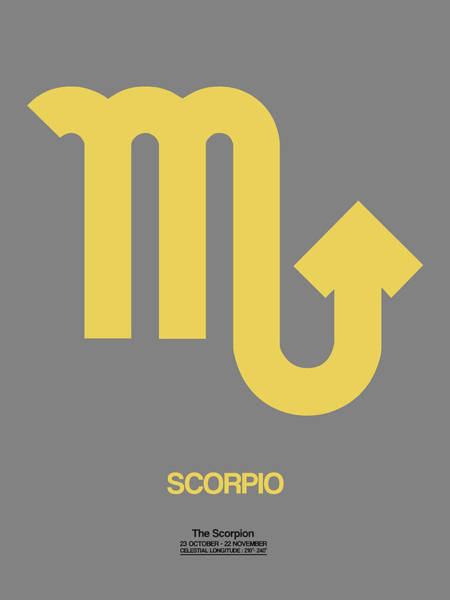 Scorpio Zodiac Sign Yellow On Grey Poster