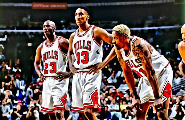 Scottie Pippen With Michael Jordan And Dennis Rodman Poster
