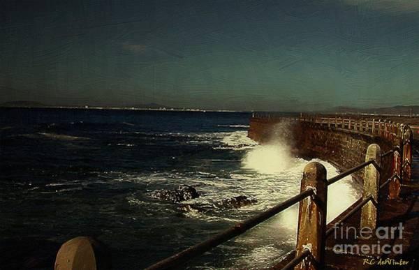 Sea Wall At Night Poster