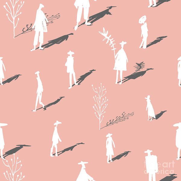 Seamless Pattern Of Trees And People Poster