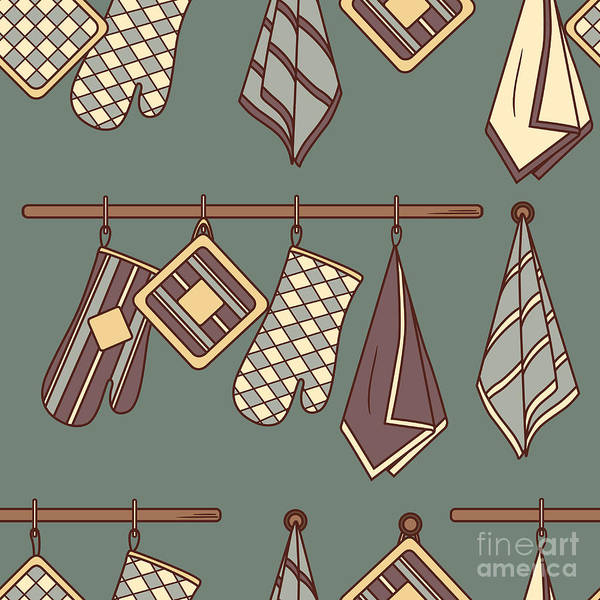 Seamless Pattern With Kitchen Textiles Poster