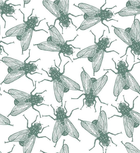 Seamless Vector Flies Pattern In Poster