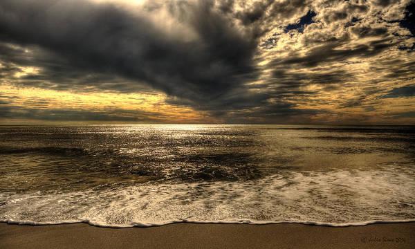 Seaside Sundown With Dramatic Sky Poster