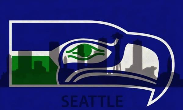 Seattle Seahawks On Seattle Skyline Poster