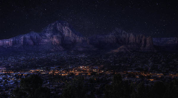 Poster featuring the photograph Sedona By Night by Lynn Geoffroy