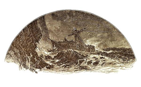 Shipwreck Illustration Poster