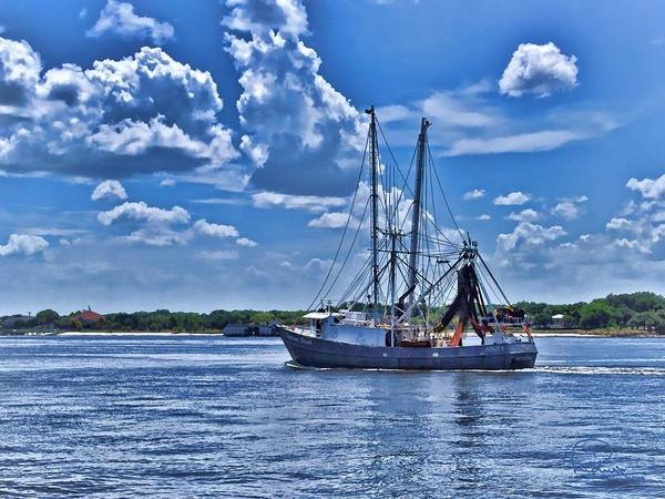 Shrimp Boat Heading To Sea Poster