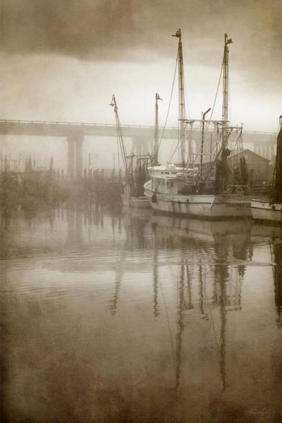 Shrimp Boats In The Fog Poster