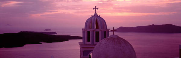 Silhouette Of A Church, Santorini Poster