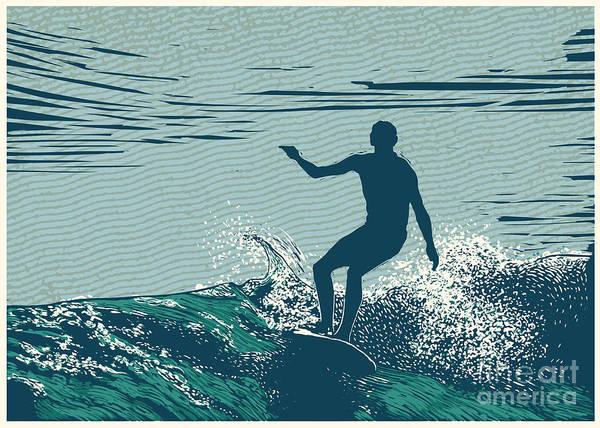 Silhouette Surfer And Big Wave Poster
