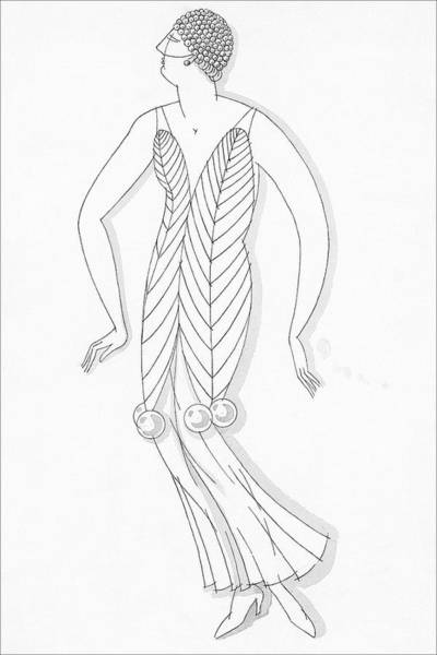 Sketch Of A Woman Wearing White Mistletoe Costume Poster