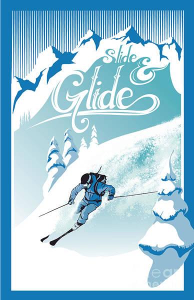 Slide And Glide Retro Ski Poster Poster