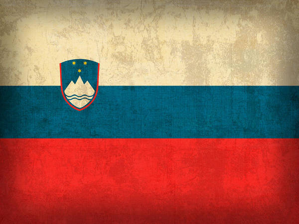 Slovenia Flag Vintage Distressed Finish Poster
